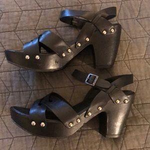 Leather platform shoes by Kork-Ease